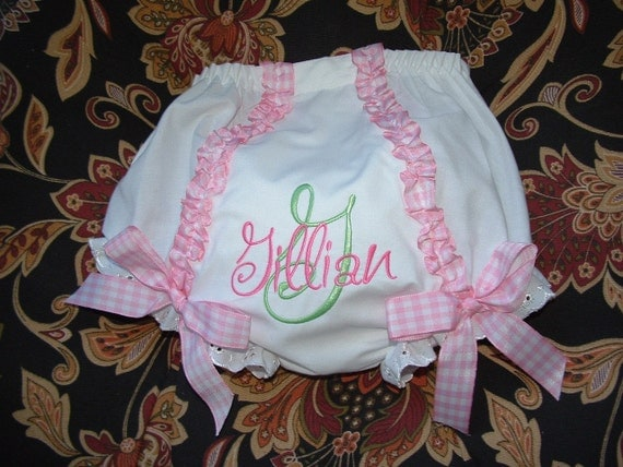 Monogrammed ruffled diaper cover or toddler panties by mollyandmom