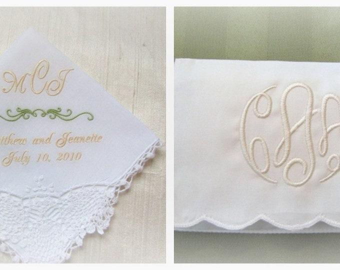Monogrammed Wedding Handkerchief with Coordinating Tissue Case