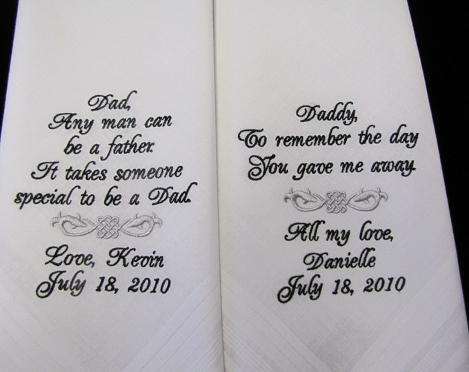 Custom Handkerchiefs for Father of the Bride and Groom