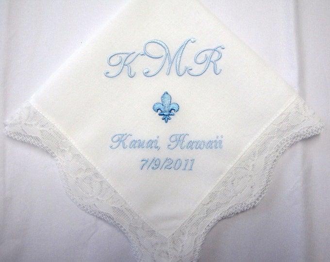 Something Blue Monogrammed Bride Hankderchief, Wedding Handkerchief, Bridal Handkerchief, Mother of the Bride Gift, Parent Wedding Gift
