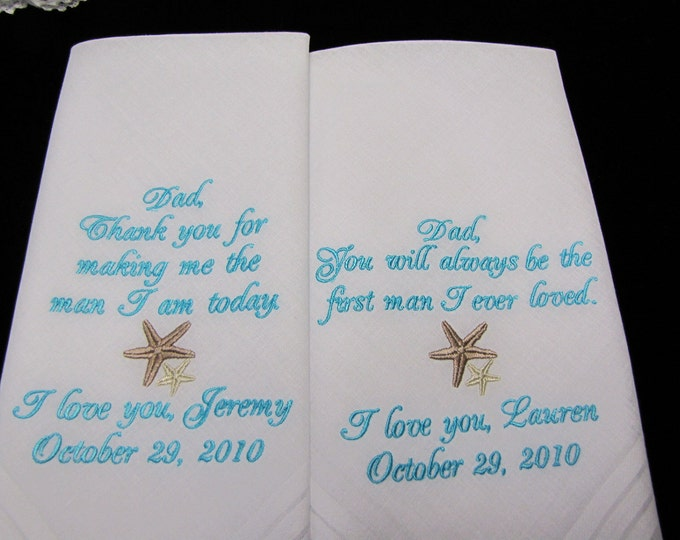 Set of 2  Men's Destination Wedding Handkerchiefs , Father of the Bride, Father of the Groom, Men, Parent Gifts from Bride, Embroidered