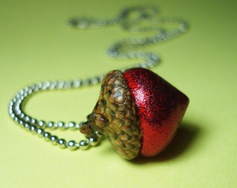 Glitter Acorn Necklace