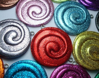 CUSTOM Glitter Spiral Pendant- Choose Your Color