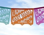 BABY MAMA Papel Picado Banner, baby shower garland decoration - custom colors
