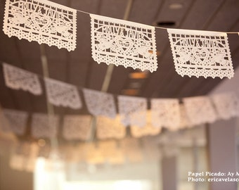DOS PALOMAS personalized, custom color Mexican Wedding papel picado -  bulk prices