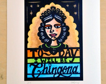 La Chingona - Giclee fine art print of original papercut, signed