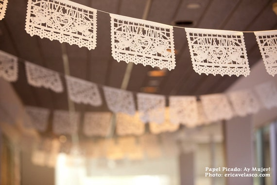 DOS PALOMAS personalized, custom color Mexican wedding papel picado -  sets of 2 banners
