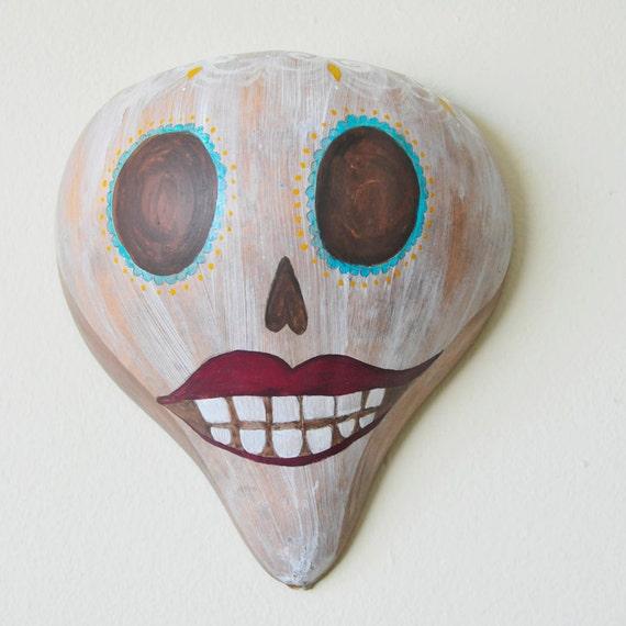 YOLANDA Dia de los Muertos Painted Gourd Calaca Skull Wall Ornament