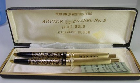 Vintage Arpege Chanel No. 5- 14K Gold Writing Pens- with Original Case