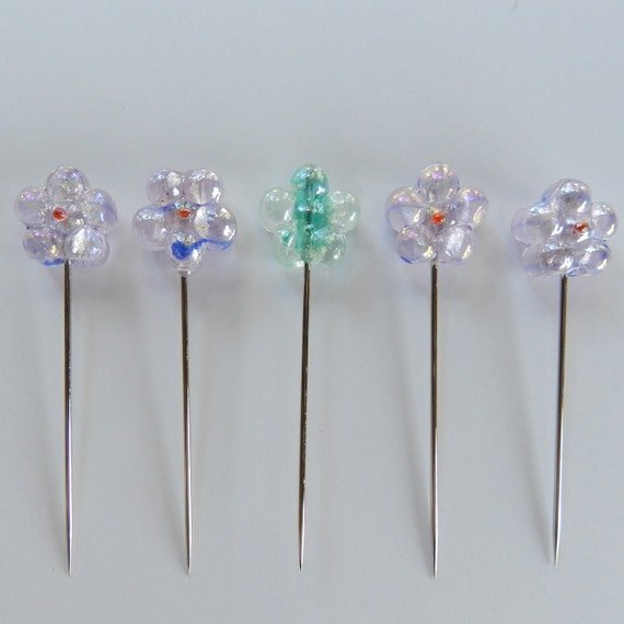 Set of 5 Big Daisy Straight Pins - With One That Glows in the Dark