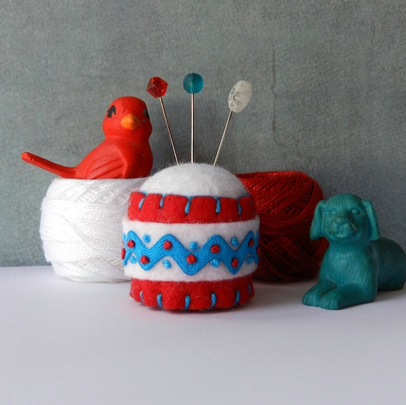 Red, White and Turquoise Rick Rack Bottle Cap Pincushion