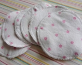 Set of 4 Pretty Pink Polka Dot NURSING PADS reusable 2 PAIR earth friendly