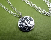 tree of life sterling silver charm necklace - plain sterling chain
