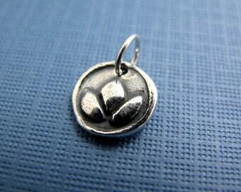 lotus bud sterling silver charm