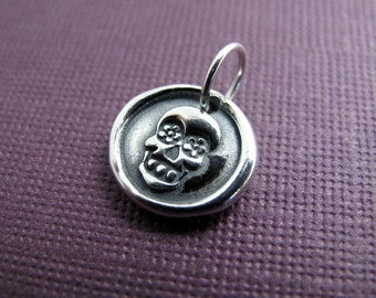 sugar skull day of the dead sterling silver charm