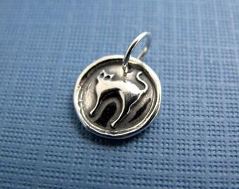 nine lives cat sterling silver charm