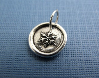 let it snow snowflake sterling silver charm
