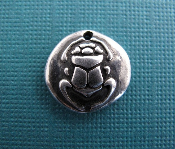 silver egyptian scarab beetle charm (ancient amulet collection) - new day