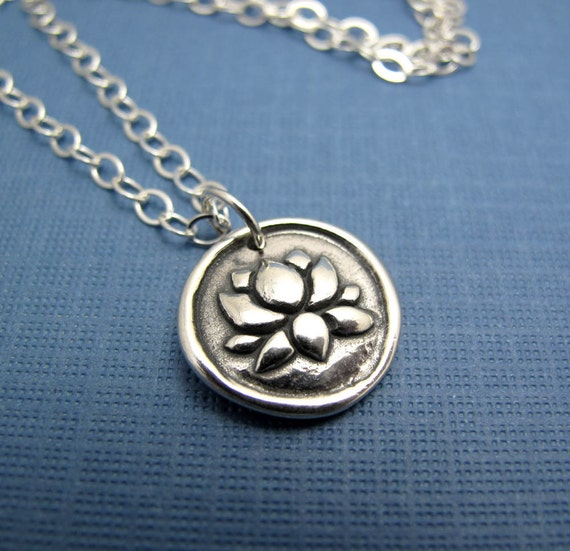 zen lotus sterling silver charm necklace - plain sterling chain