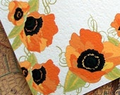 Orange Poppies Personalized Note Cards Set