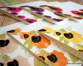 Every Poppy Collection - Personalized Note Cards Set of 6 - Orange, Pink, Yellow, Purple, Fuschia and Red Poppies