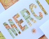 Merci - Single Thank You Card Using Vintage French Map Image