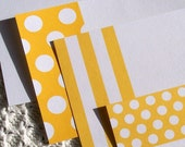 Polka Dots and Stripes Note Cards - Sunshine Yellow and Navy Blue