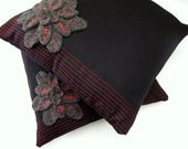 Black and Grey Wool Decorative Pillow, Throw Pillow with Appliquéd Flower