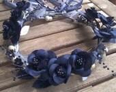 Midnight blue flower girl head piece