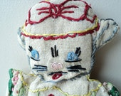 vintage cloth cat doll primitive color  embroidered