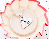 personalized conversation heart...fine silver necklace