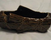 McCoy Brown Log Ceramic Planter
