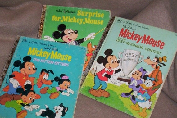 3 Vintage Collectible Mickey Mouse Golden Books