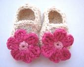 Crochet Pattern PDF - Flowered Mary Jane Slippers