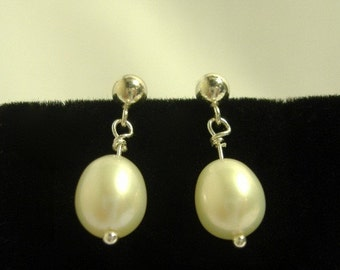 Sterling Silver Pearl Drop Studs