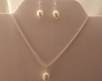 Sterling Pearl Necklace and Earring Set