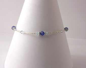 Sterling Silver and Sapphire/Light Azore Swarvoski Crystal Anklet