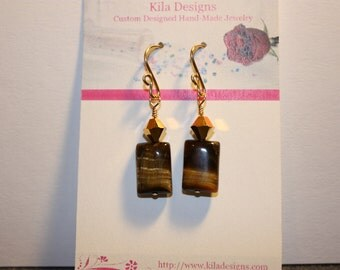 Gold Filled Tiger Eye and Swarovski Crystal Earrings