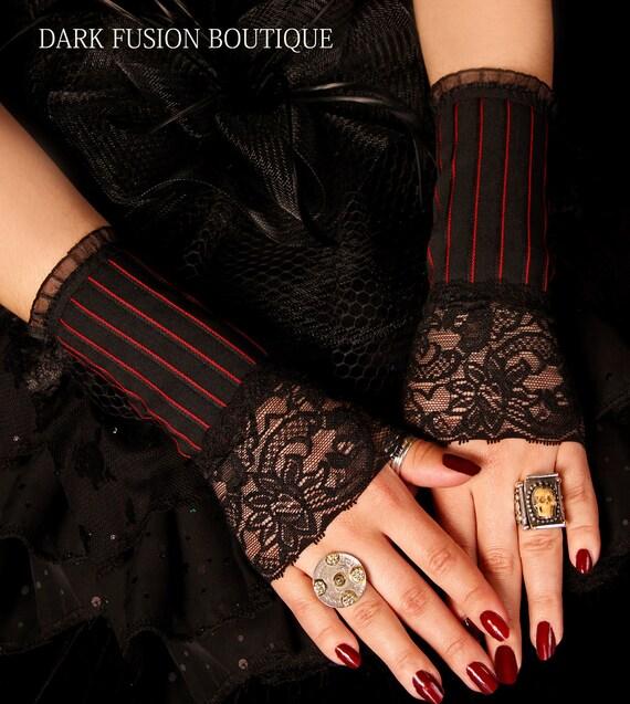 Armwarmers,  Black and Red Stripes, Gauntlet, Gothic, Goth, Fetish, Vampire, Black, Vaudeville, Cabaret, Arm Warmers