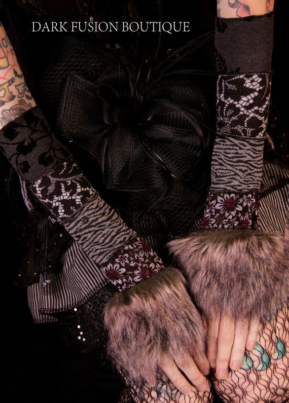 SALE, Armwarmers, Elegant Black and Gray Combo with FUR, Tribal Belly Dance, Vampire, Steam punk, Hoop, Black Rock, Circus