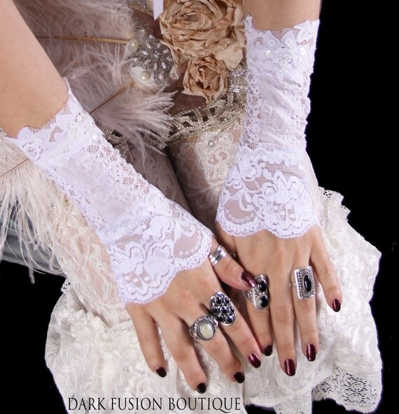 Armwarmers, White Floral , Arm Warmers,Tribal, Belly Dance, Vampire, Steam Punk, Hoop, Bridal, Wedding