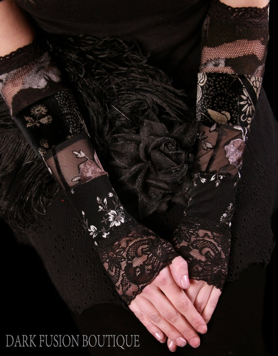 Armwarmers, Black and Gray Floral Combo, Gauntlets, Cabaret, Circus, Noir, Goth, Fetish, Black, Vaudeville, Cabaret, Arm Warmers