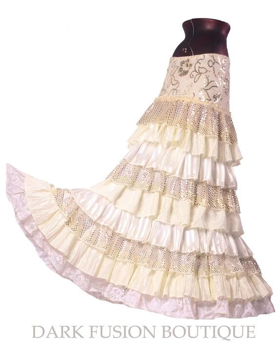 Ruffle Skirt, Cream Ruffles, Bridal, Cabaret, Vaudeville, Steampunk, Wedding, Vintage Style, Noir, Gothic, Belly Dance, Tribal