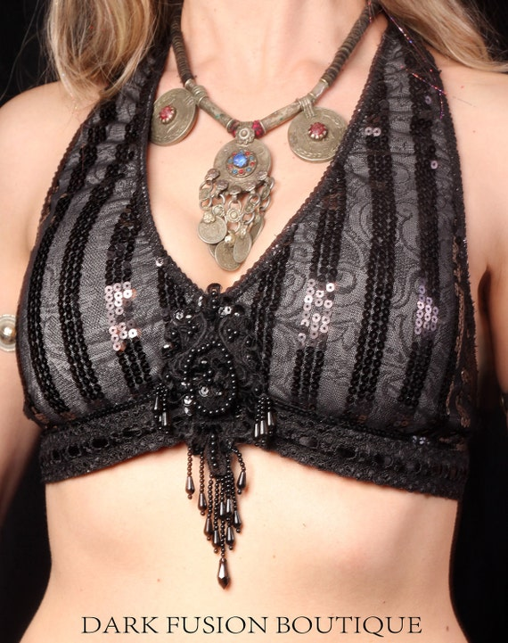 Halter, A Cup, Black and Gray Stripe, Noir, Bellydance, Dance, Costume, Tribal, Fusion, Gothic