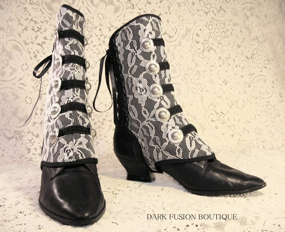 Spats, Black with White Lace, Steampunk, Noir, Vampire, Gothic, Dance, Bellydance, Tribal, Dark Fusion Boutique