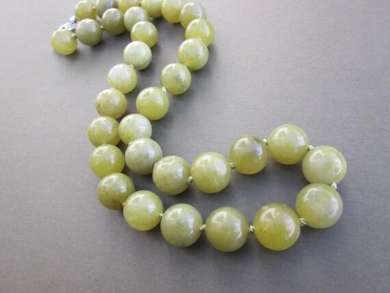 olive jade bead strand necklace