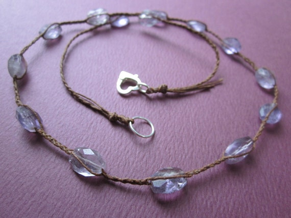 Tourmaline and waxed Irish linen necklace
