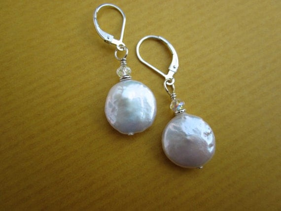 full moon coin pearl earrings with swarovski crystals