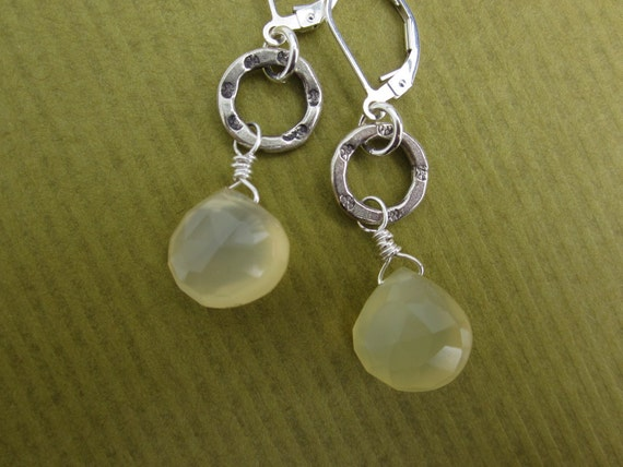 pineapple chalcedony briolettes and Thai stamped silver ring earrings