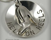 Hand Stamped Personalized Sterling Silver Jewelry Necklace Hell On Heels with High Heel Shoe Charm Pendant